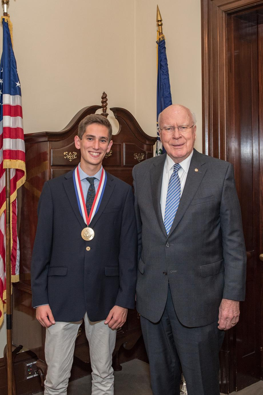 Senator Leahy met with Walker, a Vermont Presidential Scholar to congratulate him on his achievement.