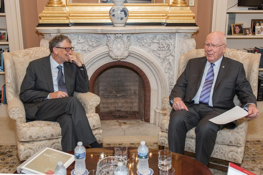 Senator Leahy met with Bill Gates to discuss the great work of the Bill and Melinda Gates foundation <br>and how the Senate Appropriations Committee can support those humanitarian goals.