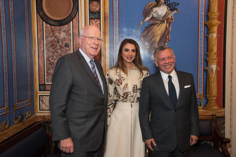 Senator Leahy, as Vice Chairman of the Senate Appropriations Committee, met with King Abdullah II and <br>Queen Rania of Jordan.