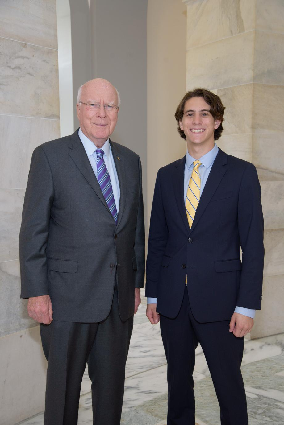 Senator Leahy, as part of his paid internship program, had a shadow day with his intern Jack.  Each <br>intern has a day where they shadow Senator Leahy to see, up close, exactly what goes into representing Vermont.