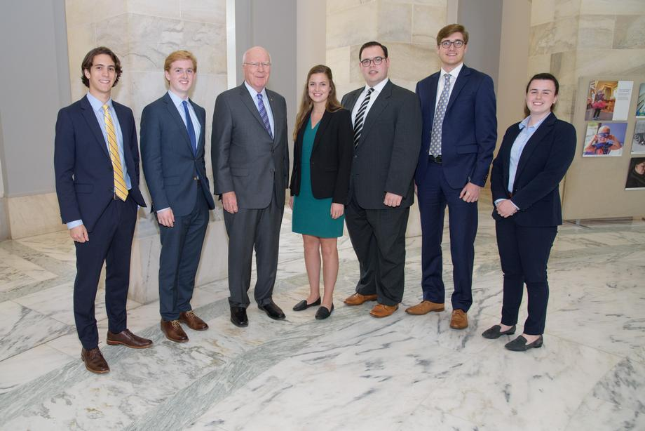Senator Leahy also had a brown bag lunch with his entire intern class and law clerk class to answer their <br>questions about his job, over lunch in his office's conference room.