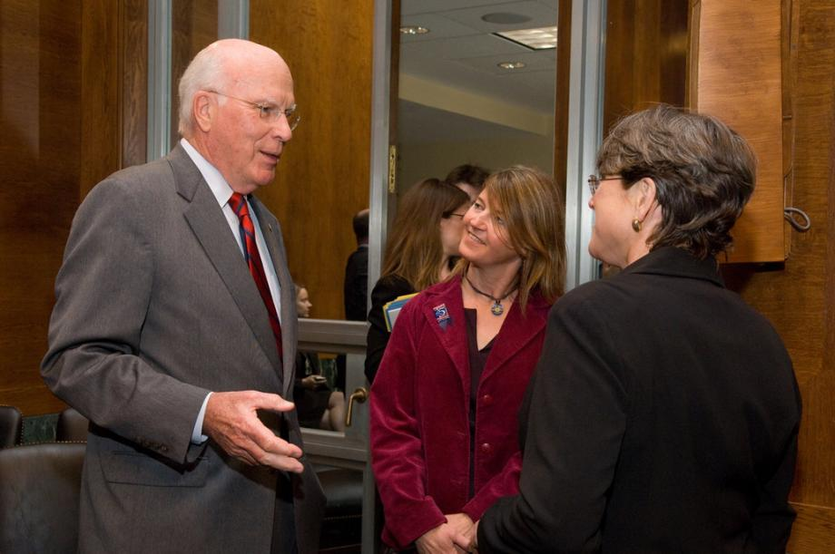 Senator Leahy talks with Vermonters at Hearing during National Crime Victim's Rights Week