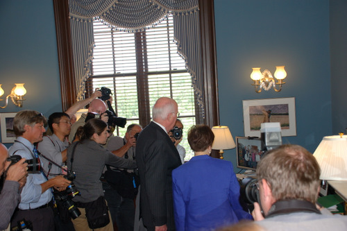 On May 12, 2010, Senator Leahy met with President Obama's nominee for the U.S. Supreme Court, Solicitor General Elena Kagan, in his Washington, D.C. office.  Before a private meeting, Senator Leahy showed Kagan photos in his office.