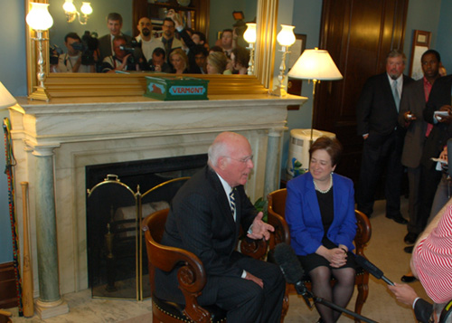 On May 12, 2010, Senator Leahy met with President Obama's nominee for the U.S. Supreme Court, Solicitor General Elena Kagan, in his Washington, D.C. office. Before a private meeting, Senator Leahy posed for photos with the nominee.