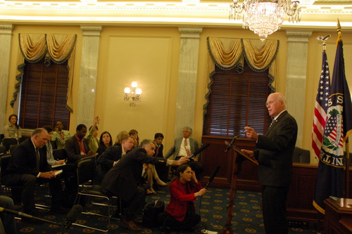 On May 12, 2010, Senator Leahy met with President Obama's nominee for the U.S. Supreme Court, Solicitor General Elena Kagan, in his Washington, D.C. office. After a private meeting, Senator Leahy held a press conference to talk about her nomination.