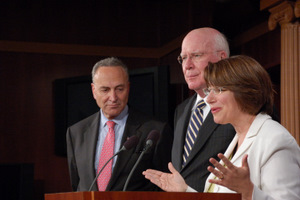 Senator Patrick Leahy (D-Vt.) joined leading members of the Senate Judiciary Committee on June 23 at a press conference to discuss the Supreme Court and the nomination of Solicitor General Elena Kagan to be an Associate Justice of Supreme Court of the United States. The Judiciary Committee will begin the confirmation hearing on the nomination on June 28. PICTURED HERE Senator Amy Klobuchar (D-Minn) speaks briefly while Senator Leahy and Senator Chuck Schumer (D-N.Y.) listen.