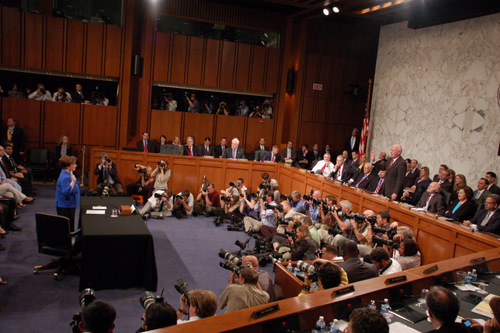 June 28, 2010, marked the first day of the nomination hearing for Solicitor General Elena Kagan to be the next Associate Justice on the U.S. Supreme Court. Pictured here, Senator Leahy administers the oath to Kagan before she reads her opening statement. The room was filled with Senators, staff, photographers, and the public.