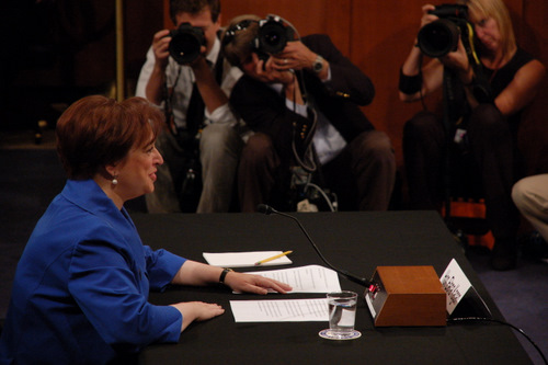 June 28, 2010, marked the first day of the nomination hearing for Solicitor General Elena Kagan to be the next Associate Justice on the U.S. Supreme Court. Pictured here, Kagan reads her openining statement.