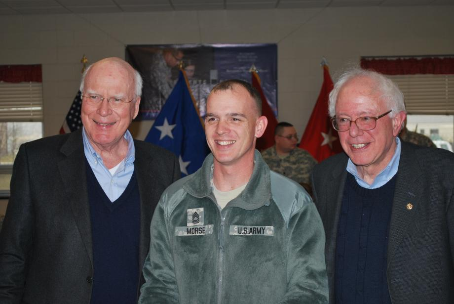 On January 25, 2010, the Vermont delegation visited Vermont National Guard soldiers at Camp Atterbury in Indiana. During the visit, Senator Leahy and Senator Sanders posed for a photo with Sergeant Morse, whose child attends Williston Central School.