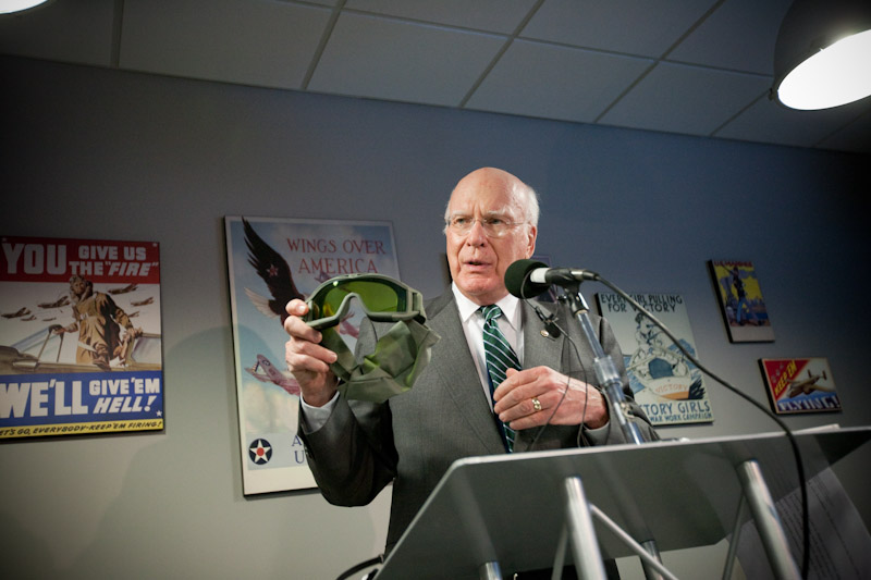 On Wednesday, January 6, 2010, Senator Leahy visited Revision Eyewear in Essex to announce a new $2.4 million contract with the U.S. Army. Senator Leahy is pictured here showing members of the press the Desert Locust lens goggle system Revision will manufacture.