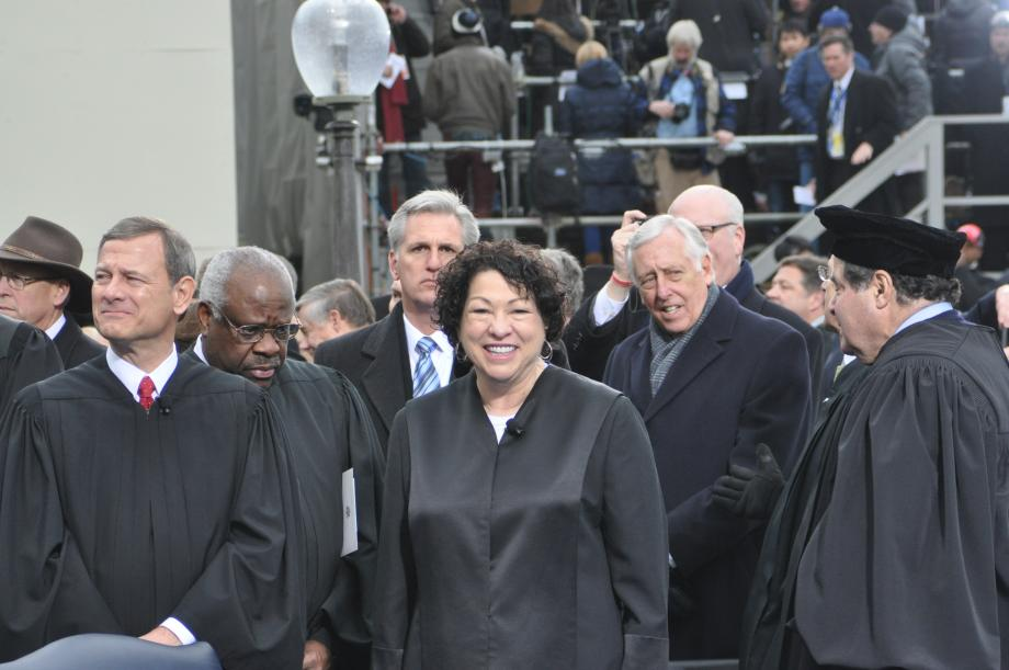 Members of the Supreme Court gather on the Inaugural Platform