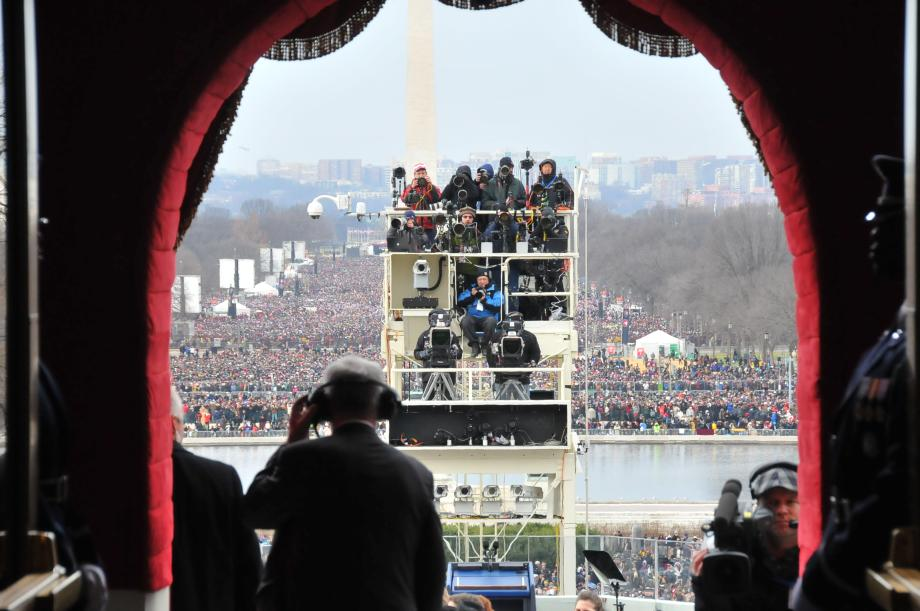 A view to the Mall and the TV camera platform from the archway leading from the Capitol to the Inaugural Platform