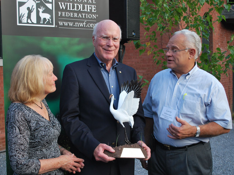Senator Leahy accepts the Connie Award for International Conservation from the National Wildlife Federation. He is pictured above with his wife, Marcelle, and Larry Schweiger, National Wildlife Federation President and CEO.  Past recipients of this award include Al Gore, and Jim Henson.