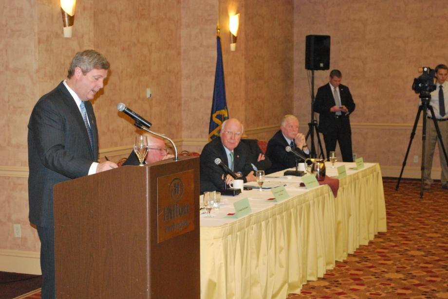 The Vermont Delegation joined USDA Secretary Tom Vilsack for a dairy town hall meeting on February 13 at the Hilton Hotel in Burlington, Vt.