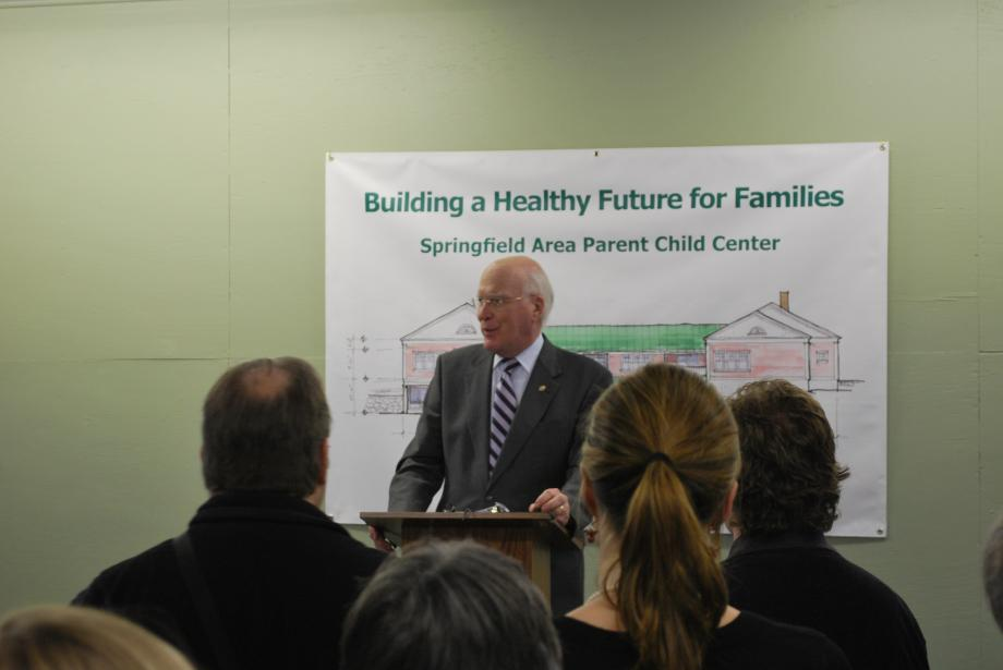 Senator Leahy toured the Springfield Parent Child Center on February 16. Senator Leahy helped kick off the Center's capital campaign with an announcement of a $100,000 grant from the USDA.