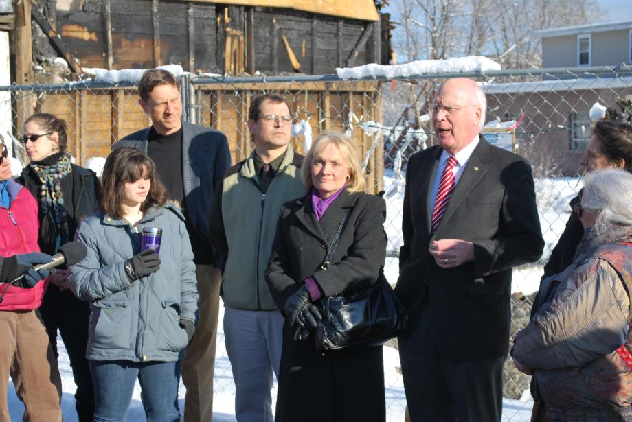Senator Leahy met with representatives of the Putney Historical Society at the site of the twice burned Putney General Store. During his visit, Senator Leahy announced a new $60,000 federal grant that will ensure construction on the new General Store can begin this year.