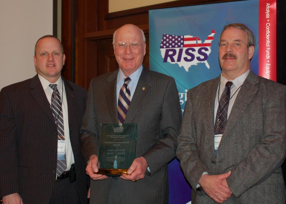 Senator Leahy received the Distinguished Leadership Award on February 23 at the Regional Information Sharing Systems (RISS) Directors Association annual policy summit in Washington, D.C.  In attendence at the summit were two Vermonters, who joined Senator Leahy for a photo. Pictured left to right Vermont State Police Commander Colonel Tom L'Esperance, Senator Leahy, and Newport Chief of Police Paul Duquette, Chairman of the New England State Police Information Network (NESPIN).