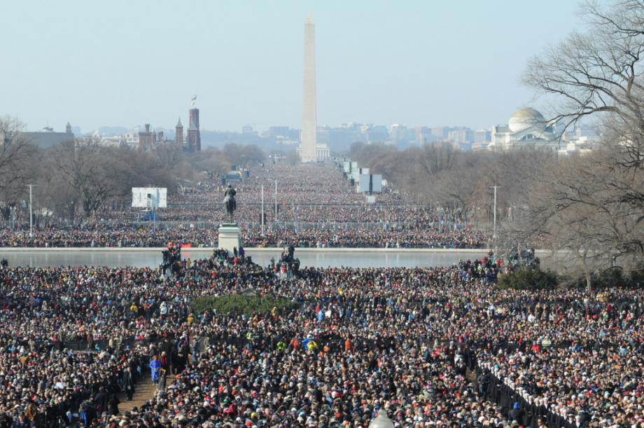 With other members of Congress, Leahy had a clear view of just how large the crowds were on the National Mall.