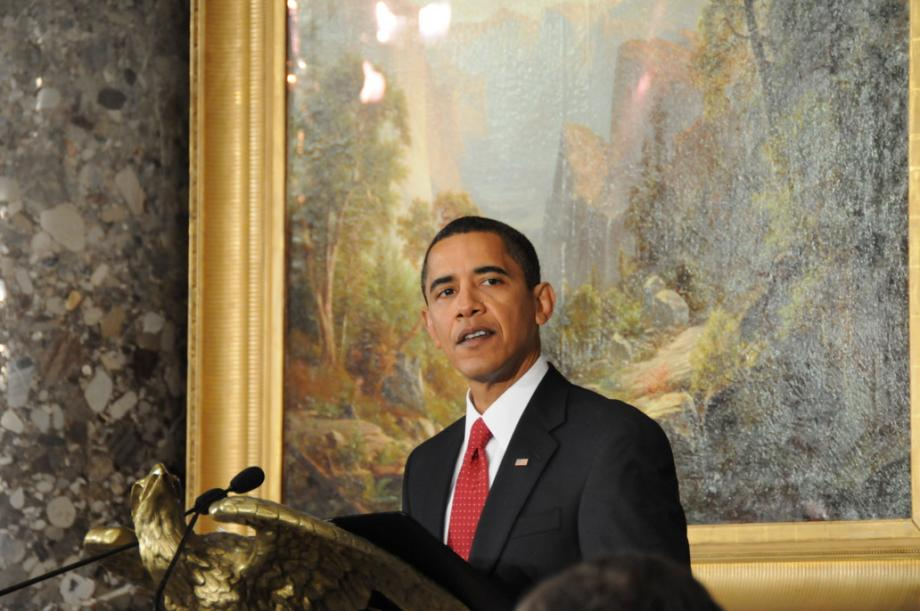 After the ceremony, President Barack Obama addressed Members of Congress at a luncheon.