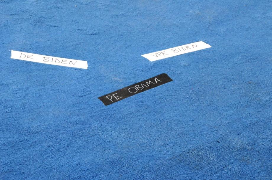 A close-up of the tape markers behind the podium where President Obama took the oath of office.