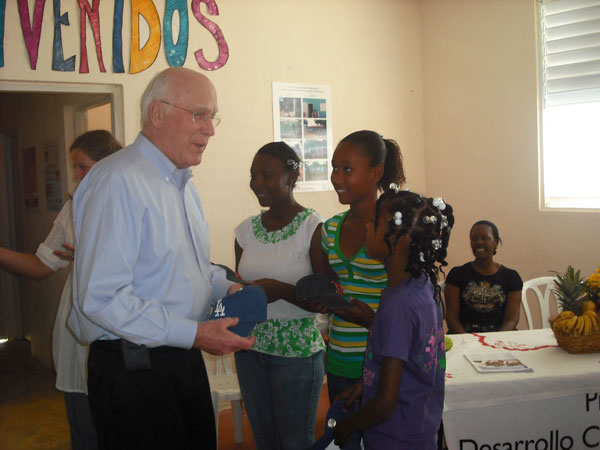 Senator Leahy greets children of the Batey Community in the Dominican Republic.