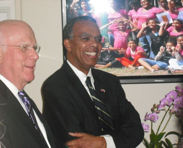 Senator Leahy with Peace Corps Director Aaron Williams at a reception commemorating the 50th anniversary of the Peace Corps.
