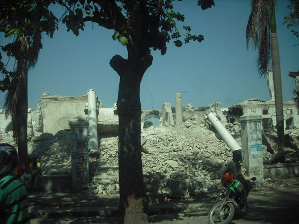 A view of the rubble that remains from the devastating earthquake that shook Haiti in January of 2010.