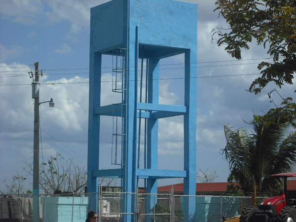 The newly-erected water tower in the Batey Community in the Domincan Republic.