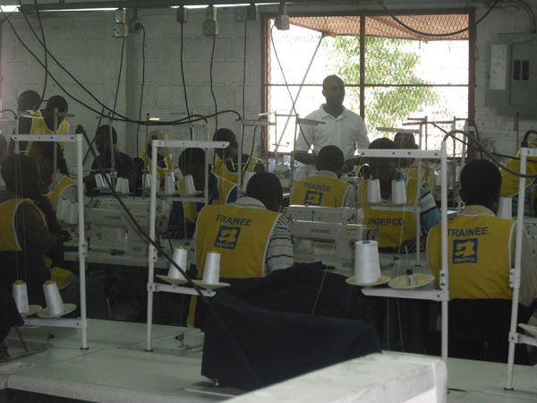 Employees at the INDEPCO manufacturing facility in Haiti.